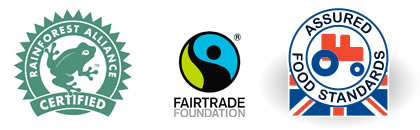Fairtrade, Rain Forest Alliance, Red Tractor