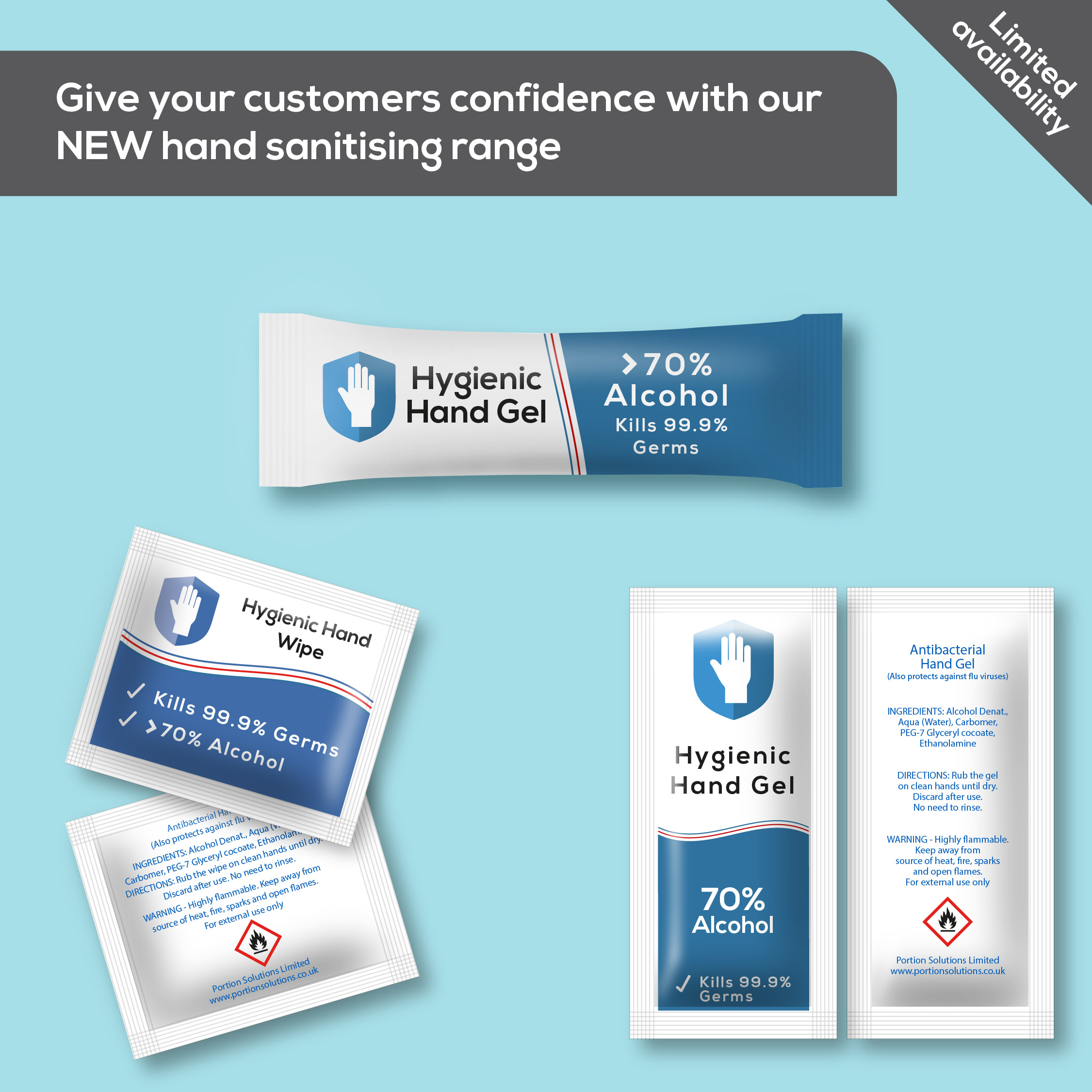 Give your customers confidence with our range of individual hand sanitising sachets