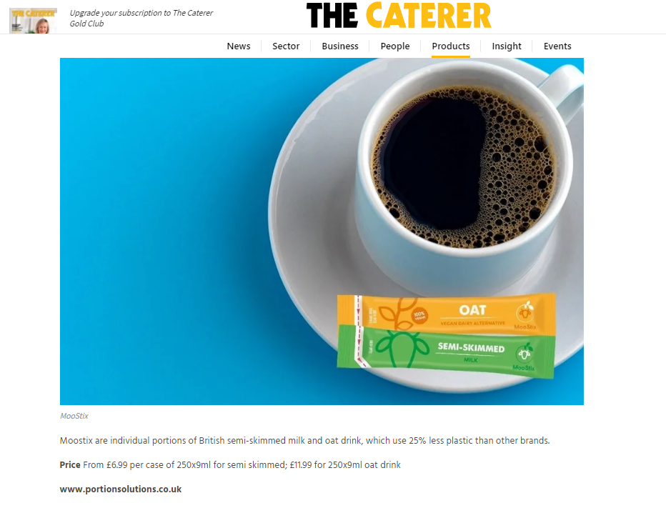 Moostix milk and oat portions featured in The Caterer